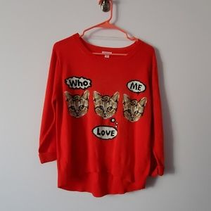 Xhilaration Red Cat Sweater Large
